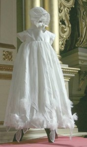 Little Darlings silk christening gown and bonnet