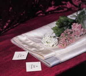 Silk christening shawl