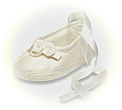 Girls ivory christening shoes