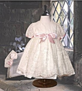 Christening dress in silk and lace from Little Darlings