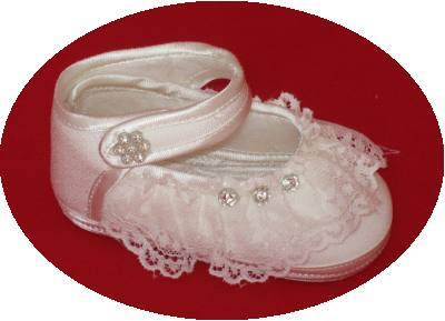 Silk christening shoes