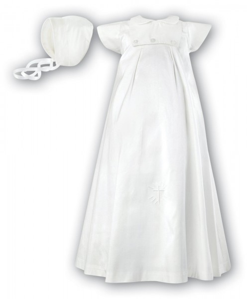 Silk christening gown with short sleeves