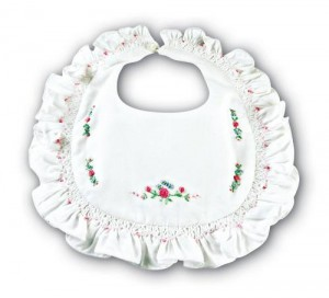 Bib with Embroidered Flowers
