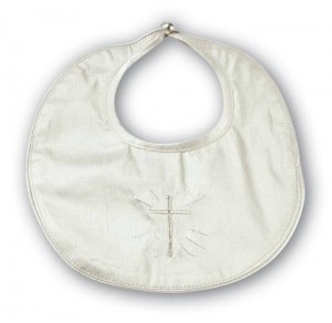 Silk christening bib