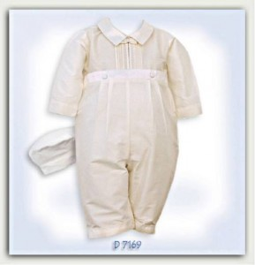 Ivory silk christening suit