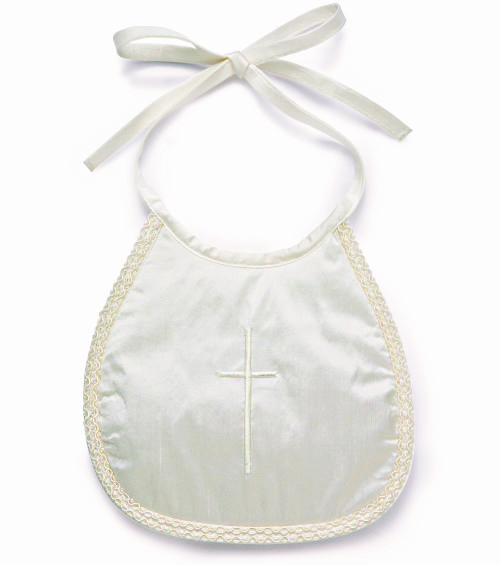 Little Darlings silk christening bib with embroidered cross.
