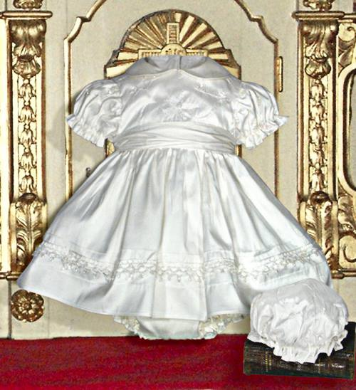white silk christening dress