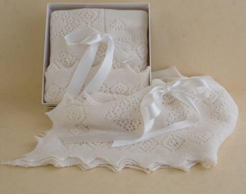 Pure wool christening shawl