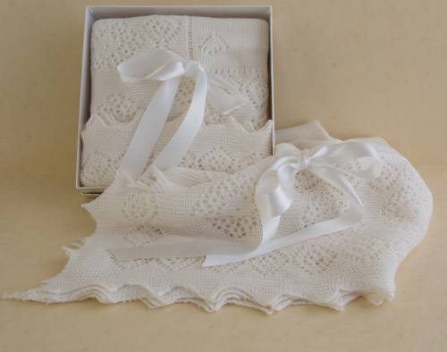 Pure wool christening shawl