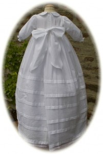 Cotton Christening Gown Back View