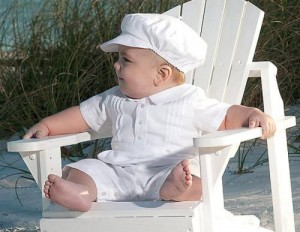 Baby boy's christening romper suit