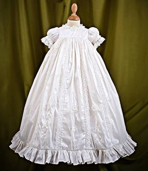 Angels and Fishes Eden silk heirloom christening gown