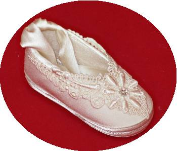 Girls' silk christening shoes