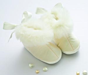 Silk christening boots
