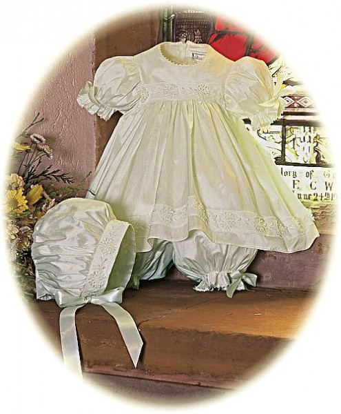 Silk Christening Dress and bonnet