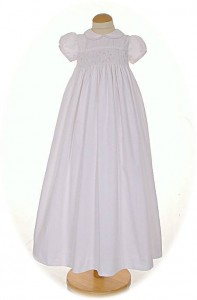 Hand smocked Cotton Christening Gown
