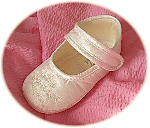 Girls' embroidered christening shoes
