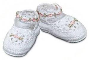 Crochet cotton baby shoes