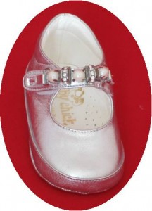Silver leather christening shoes