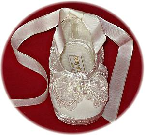 Baby's silk christening shoes